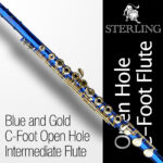 Blue and Gold OHC Flute • STERLING Open Hole C Flute • 16 keys • Brand New •