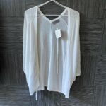 BNWT Jacqui E Womens White Short Sleeve Lightweight Belted Cardigan Size S