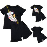 Toddler Girls Cotton Tops T-Shirt Shorts Sets Summer Suit Kids Clothes Casual