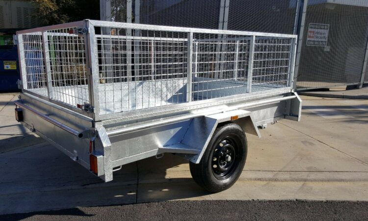 8x5 box trailer fully welded fully galvanised with mesh crate heavy duty