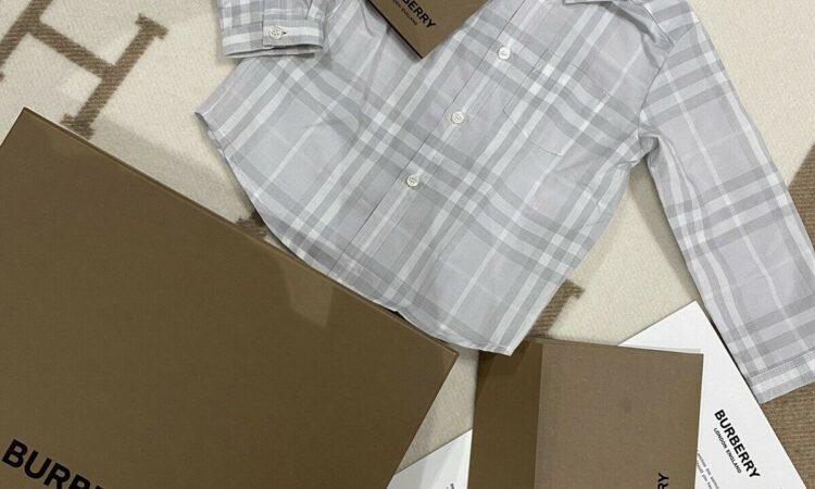 BNWT Authentic Burberry Baby Boys Shirt Pale Grey Check Size 12m 0 Top