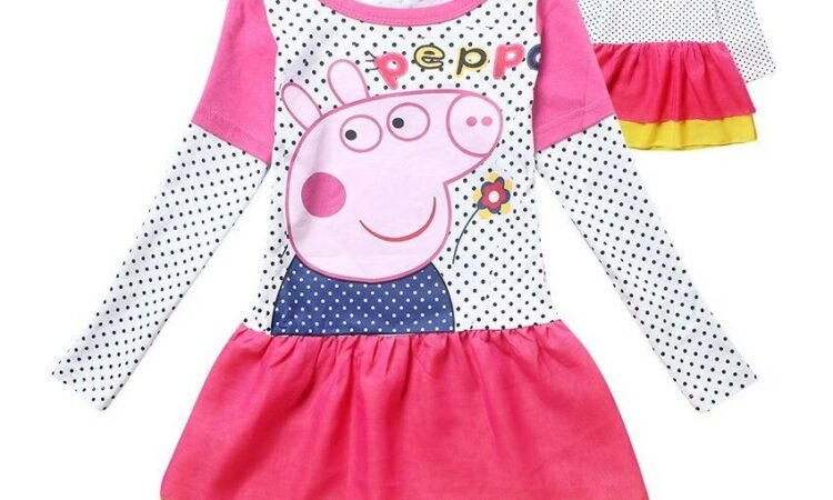 New Baby Girls Peppa Pig Dress Long Sleeves Toddler Clothes Size:2-7 Yrs Gift