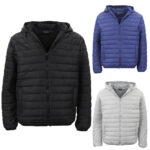 Men's Hooded Lightweight Parka Puffer Jacket Quilted Padded Puffy Coat Windproof