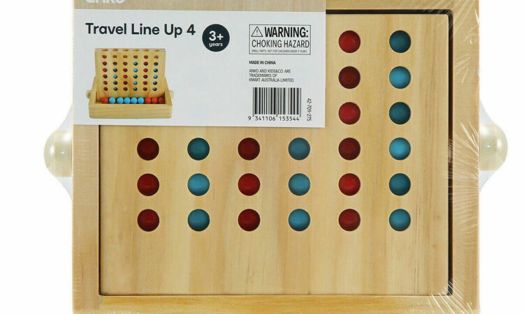 Wooden Travel Line Up Indoor Fun Family Game Kids Educational Toys