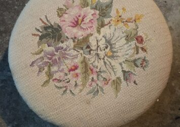 """Antique Embroidered Wooden Stool. Floral. Wooden. Good Vintage Condition.12x6"""""""