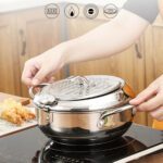 8in Stainless Steel Deep Fryer Frying Home Cooker Oil Filter Frame Thermomete